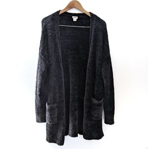 Fuzzy Plush Long Open Front Cardigan Black XL